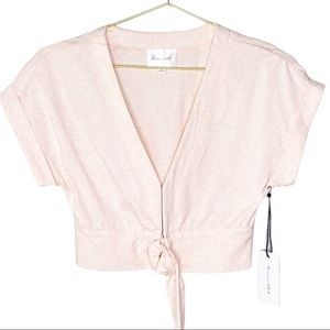 Line and Dot Revolve Pink Love Sick Tie Front Top